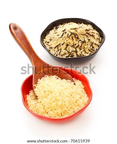 Bowls Of Raw Rice - stock photo