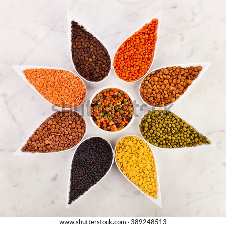 Bowls of various lentils in the shape of flower on a marble background - stock photo
