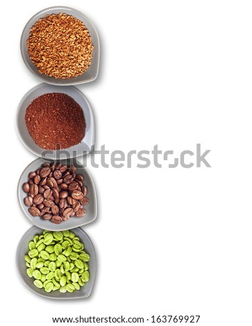 Bowls with green, roasted coffee beans, ground and instant coffee isolated on white. - stock photo