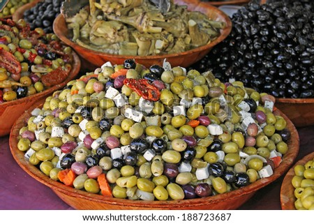 bowls with olive appetizers - stock photo