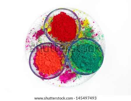 Bowls with vivid colours of Gulal  - stock photo