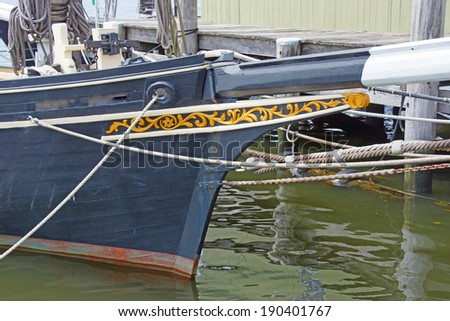 Bowsprit of 19th century fishing schooner, Old Mystic Seaport, Connecticut  - stock photo