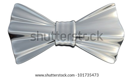 Bowtie Silver metallic in 3D, isolated - stock photo