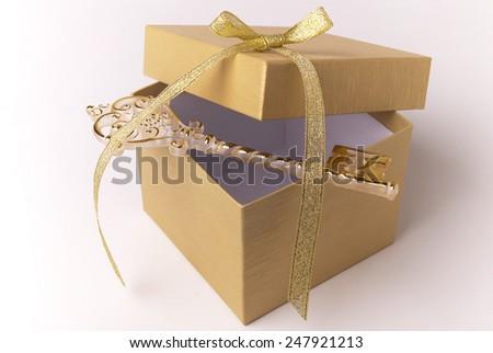 Box and key - stock photo