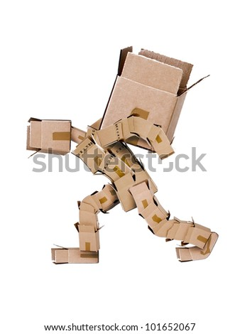 Box character straining under the load - stock photo