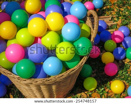 box filled with small colorful balls                                - stock photo