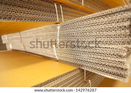 box folded, texture of brown box folded pile together - stock photo