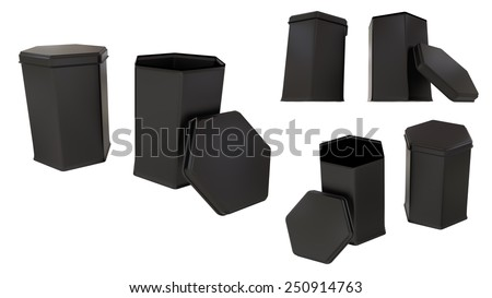 Box for tea or things black hexagonal tins blank close and open set isolated on white background.Easy editable for your design. - stock photo