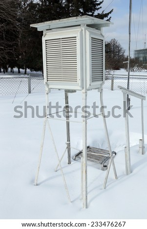 Box for the meteorological equipment on snow. - stock photo