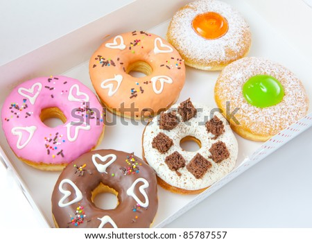 Box full of donut set - stock photo