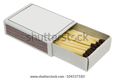Box full of matches on white background. - stock photo