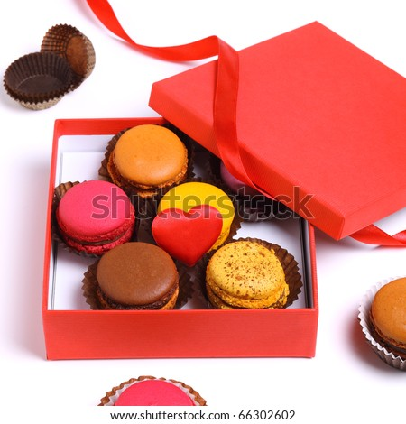 Box gift macaroons isolated on white background - Valentine's day - stock photo