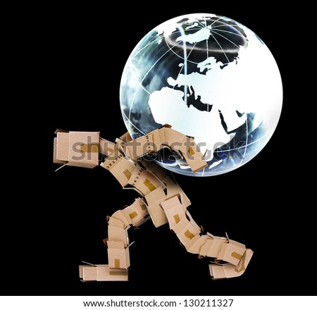 Box man carrying a globe on a black background - stock photo