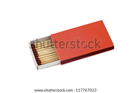 Box of brown matches isolated on white background - stock photo