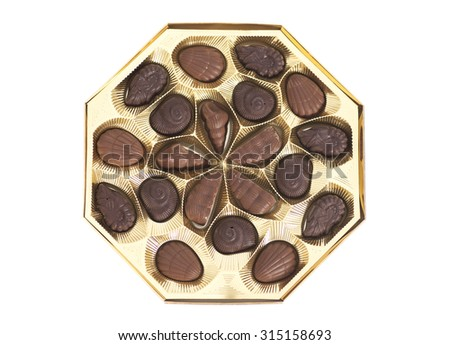Box of Chocolate Candy isolated on white background - stock photo