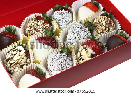Box of chocolate covered strawberries - stock photo
