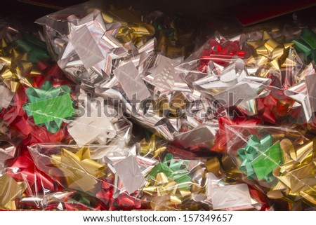 Box of Christmas Bows - Box of Christmas Bows for Wallpaper or Background - stock photo