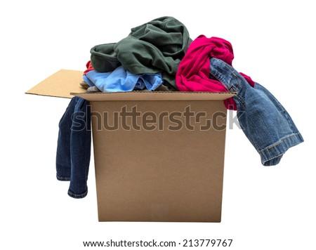 Box Of Clothing/ Isolated On White - stock photo