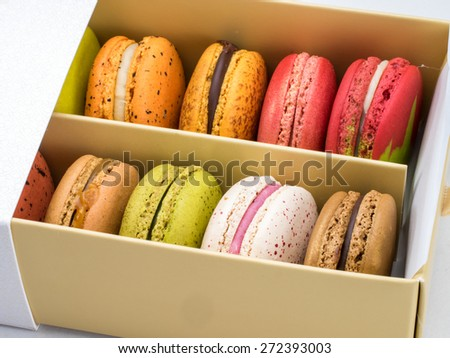 Box of colorful macaroons, just open to see inside  - stock photo