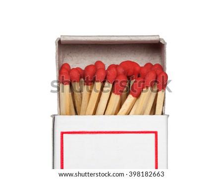 Box of matches isolated on white background - stock photo