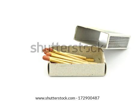 Box of matches on white background - stock photo