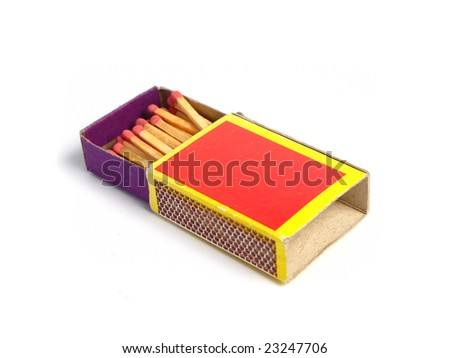 Box of matches on white background - stock photo