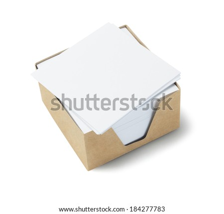 Box Of Memo Papers On White Background - stock photo