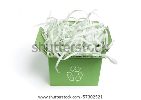 Box of Paper Shreddings on White Background - stock photo