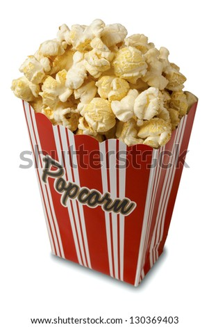 Box of popcorn isolated on white background with soft shadow. Clipping path included. - stock photo