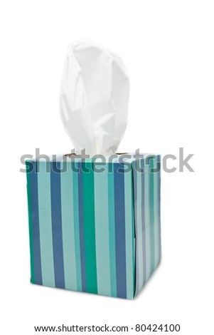 box of tissues on a white background - stock photo