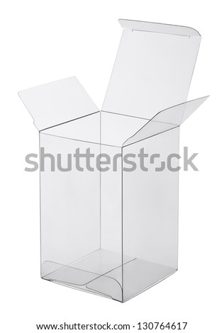 box of transparent plastic on a white background - stock photo