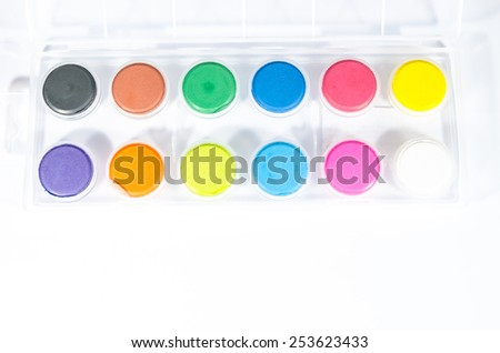 box of watercolor - stock photo