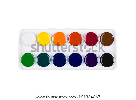 box of watercolor isolated on white background - stock photo