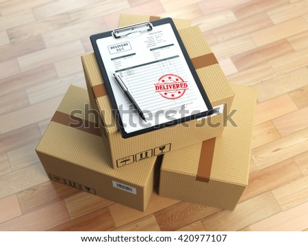 Box, pen, clipboard with receiving form and stamp delivered isolated on white.  Delivery concept. 3d illustration - stock photo