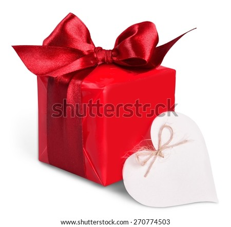 Box. Red gift box and heart (with space for text) on white wooden background - stock photo