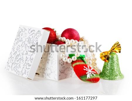 box ribbon bow isolated on white background - stock photo