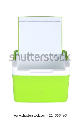 box storage plastic container isolated on white background - stock photo