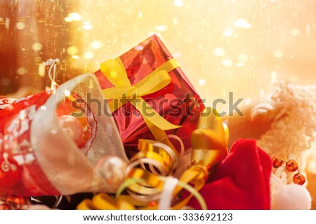 box with Christmas toys and gifts,applied effects - stock photo