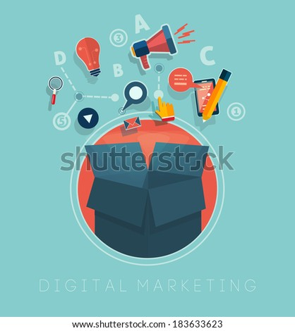 Box with cloud of colorful application icons on media theme. Digital marketing concept. Raster version - stock photo