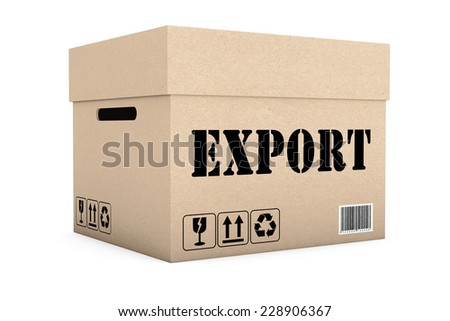 Box with Export Sign on a white background - stock photo