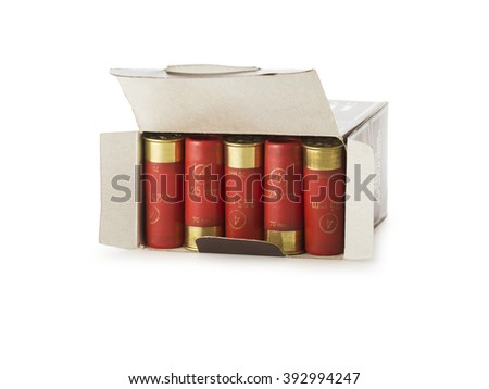 Box with 12 gauge shotgun shells used for hunting isolated on a white background - stock photo