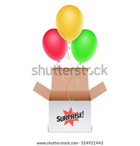 Box with inscription Surprise and balloons - stock photo