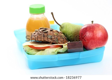 box with lunch - delicious sandwich and fruit close-ups - stock photo