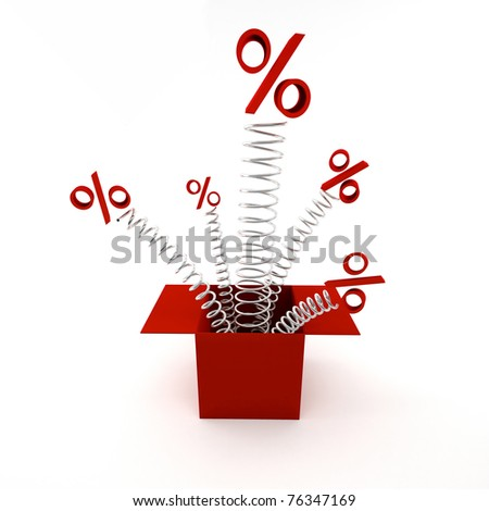 box with percents sign on white background - stock photo