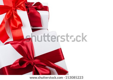 Box with  red tape isolated on white - stock photo