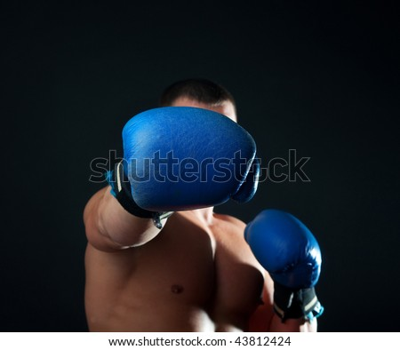 Boxer during his training - stock photo