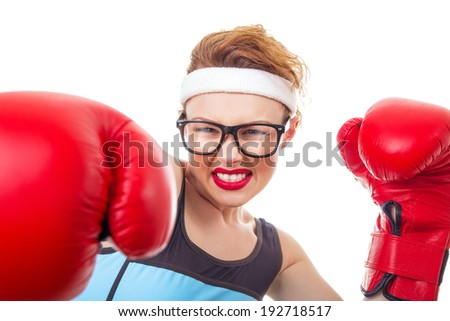Boxer - fitness woman boxing wearing boxing gloves - stock photo