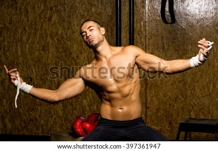 Boxer young man - stock photo