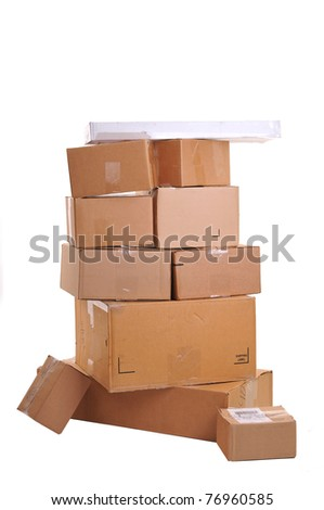 Boxes carelessly stacked on top of each other, some fallen over. White background- no shadows. - stock photo