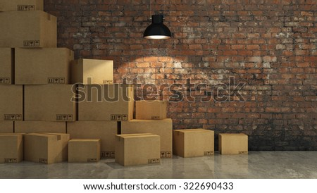 Boxes in empty room 3D - stock photo